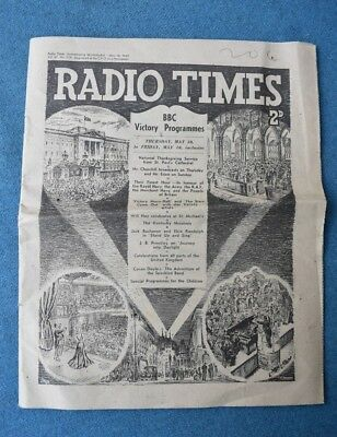 Rare Radio Times Victory WW2 Issue May 10th 1945 VGC. WW2 Collectable.