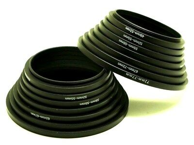 Set of Two 49-52-55-58-62-67-72-77mm 7pcs Black Metal Step Up Rings Lens Adapter
