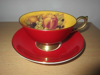 Aynsley Orchard Gold Cup And Saucer (Red Colourway) New