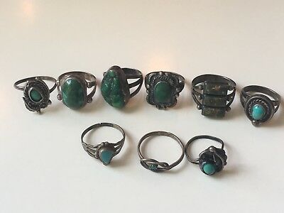 Vintage Fred Harvey Era Silver Turquoise Ring Lot Of 9