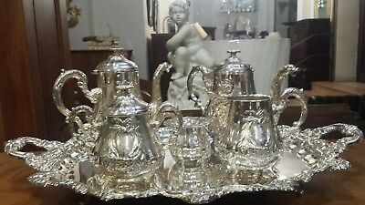 4535g STERLING SILVER COFEE-TEA SET 6 PIECES FRENCH SWAN STYLE