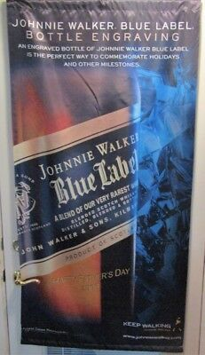 JOHNNIE WALKER Blue LABEL Engraving Big Satin Advertising Banner  Whisky Sign