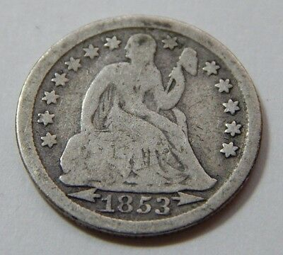 1853 w/ Arrows US Silver Seated Liberty Dime Coin