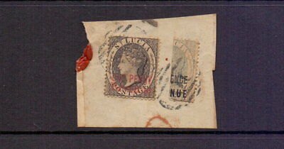 ST LUCIA 1882 1d REVENUE + 3d BISECTED POSTALLY USED ON PIECE