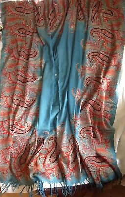 Antique 1850's Paisley printed fine wool shawl JADE BLUE 165 x 165 cm