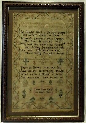 Early 19Th Century Jabob's Well Verse & Motif Sampler By Mary Lloyd Aged 11 1813