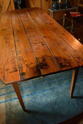Antique Early Old Plank Top Rustic Golden Pine Wood Farmhouse Kitchen Table VA
