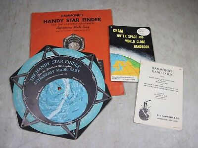Vintage 1950 Hammond's Handy Star Finder & Cram Outer Space World Globe Handbook