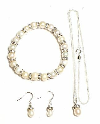 Ladies WHITE METAL Genuine PEARL Earrings, Bracelet & Necklace, 24.09g - W61