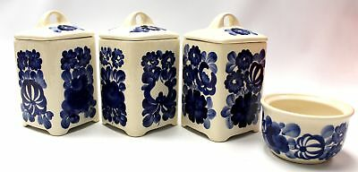 Vintage Hand Painted WLOCLAWEK Lidded Jars/Caddy and Dish - Made in Poland - H29