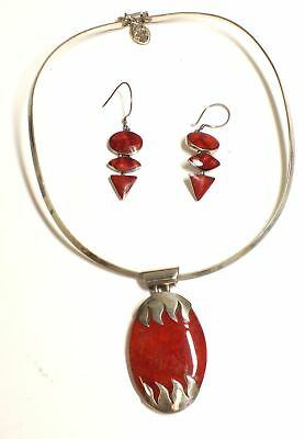 925 STERLING SILVER Red Oval Drop Necklace & Earrings, 32g - S89