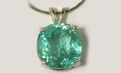 Antique 19thC Handcut Afghanistan 15ct Green Kunzite Good Luck Sterling Pendant