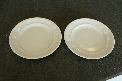 """2 Antique White Ironstone 7"""" Lunch Plates Pair RIDGEWOOD w Collector Numbers"""