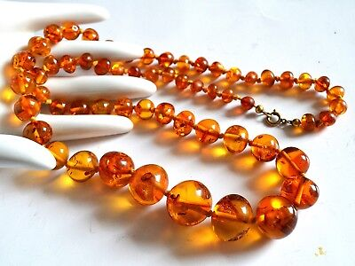 38,4 g alte Kugel Bernstein Kette honey amber necklace - Art Deco Bernsteinkette