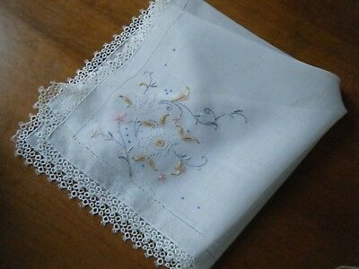 Antique Handkerchief Hanky embroidery ladder lace tatting hem H done