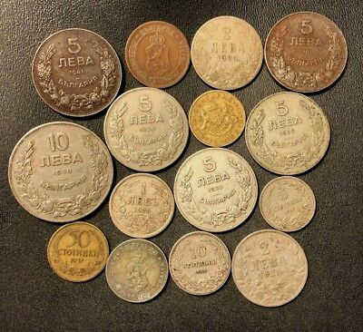 Old Bulgaria Coin Lot - 1912-1943 - 15 Uncommon Coins - Lot #618