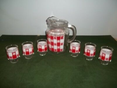 Set 6 Red White Gingham Juice Glasses Pitcher Matches Federal