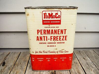 Vintage 1 Gallon Ford Motor Company Anti-Freeze Can Motor Oil Can Neat! Fomoco