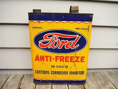 Vintage 1 Gallon Ford Motor Company Anti-Freeze Can Motor Oil Awesome Graphics!