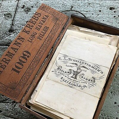 477 pc Antique Prescription 1874 H Krebs/Others Druggist/Apothecary OH Cigar Box