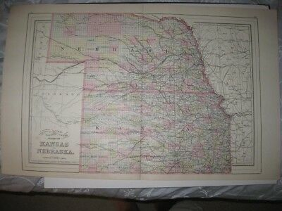 Large Mint Antique 1896 Kansas Nebraska Mitchell Handcolored Map Railroad Rare