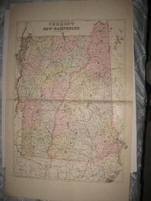 Large Mint Antique 1896 Vermont New Hampshire Mitchell Handcolored Map Rare Fine