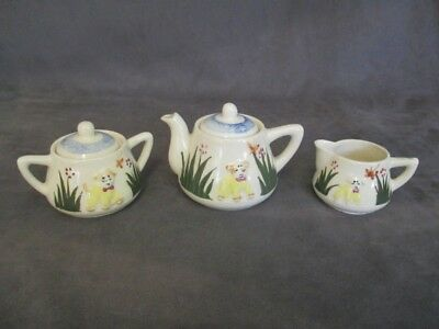 Vintage Childs Ceramic Teaset - Teapot Creamer Sugar - Puppy & Butterfiles