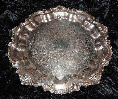 Vintage Antique Wallace Silver Plate Chippendale Footed Platter Tray Charger