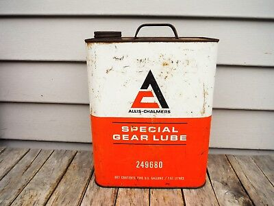 Vintage 2 Gallon Allis Chalmers Special Gear Lube Oil Can Neat Nr! Rare!