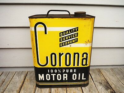 Vintage 2 Gallon Corona Motor Oil Can Awesome Graphics Nr! Rare Can!