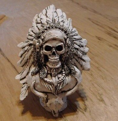 Native American Indian Chief with a SKULL in a Headdress- Statue
