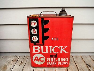Vintage 2 Gallon Buick And Ac Sparkplug Oil Can Gasoline Can Stoplight Awesome!