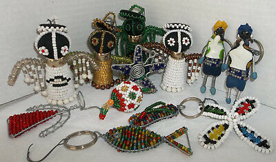 African Folk Art 12 Holiday Beaded Christmas Ornaments Star Fish Angel Dolls...