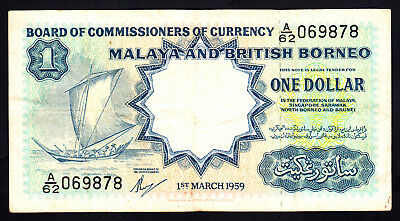 1959 Malaya and British Borneo $1 Dollar Note P. 8A Fine+