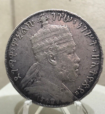 ETHIOPIA 1897(EE1889A) 1 Birr Silver Crown - VF - Graded for Yourself