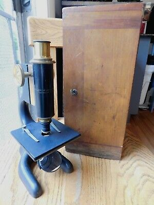 Vt 1915 Bausch & Lomb 16Mm 026 Microscope In Tongue & Groove Wood Case