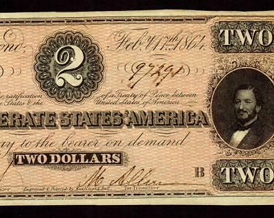 T70 1864  $2 Confederate Treasury Note ** MORE CURRENCY FOR SALE **