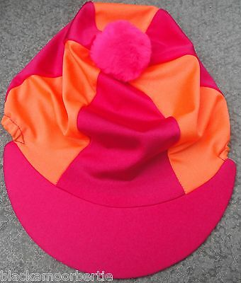 Riding Hat Silk Skull cap Cover HOT CERISE PINK & ORANGE With OR w/o Pompom