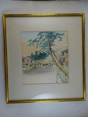 Vintage Japanese Watercolor Painting City Street View Japan Art Signed Antique