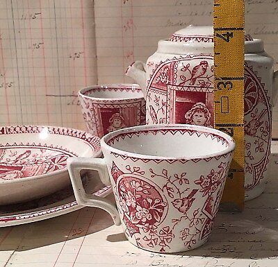 5 pc of Antique Red Transferware Childs Miniature Tea Set Staffordshire England