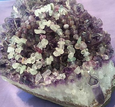 Wow - Beautiful Handcrafted Unique Amethyst & Fluorite Gemstone Necklace