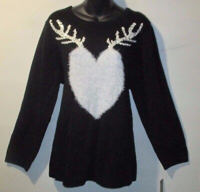 Sweater 3X Plus Style&Co $60 NWT Black White Heart Sequin Antlers Christmas MC71
