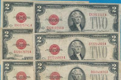 10-$2.00 1928 Mixed Series Red Seal United States Notes Dealers  Lot