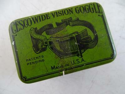 Antique Cesco Wide Vision Goggle Motorcycle Steampunk Advertising Tin Can Vtg