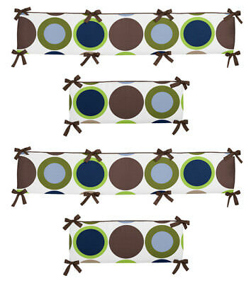 Cute Colorful Polka Dot And Brown Baby Affordable Boy 4 Piece Crib Bumper Pad