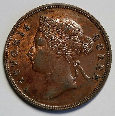 1887 Straits Settlements Cent KM# 16 Queen Victoria EF Nice