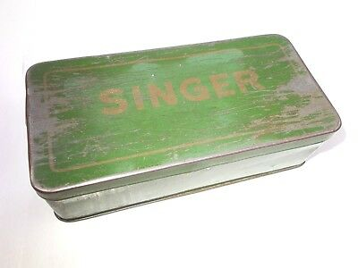 Vintage antique Singer sewing machine tin box case for tools  1930's