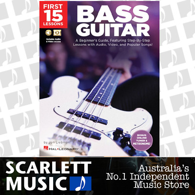 First 15 Lessons Bass Guitar Book with Audio and Video *NEW*