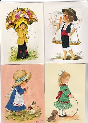 4 Old Novelty Silk Postcards Children Girl Boy Artist Signed H1