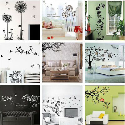 Tree Leaves Flowers Decor Removable Wall Stickers Living Room Backdrop Art Decal
